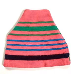 Smiley Ski Beanie Knit Cap Wool Blend Pink Blue